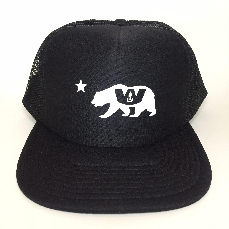 Wax Union W Cali Bear Trucker Hat Black Front View