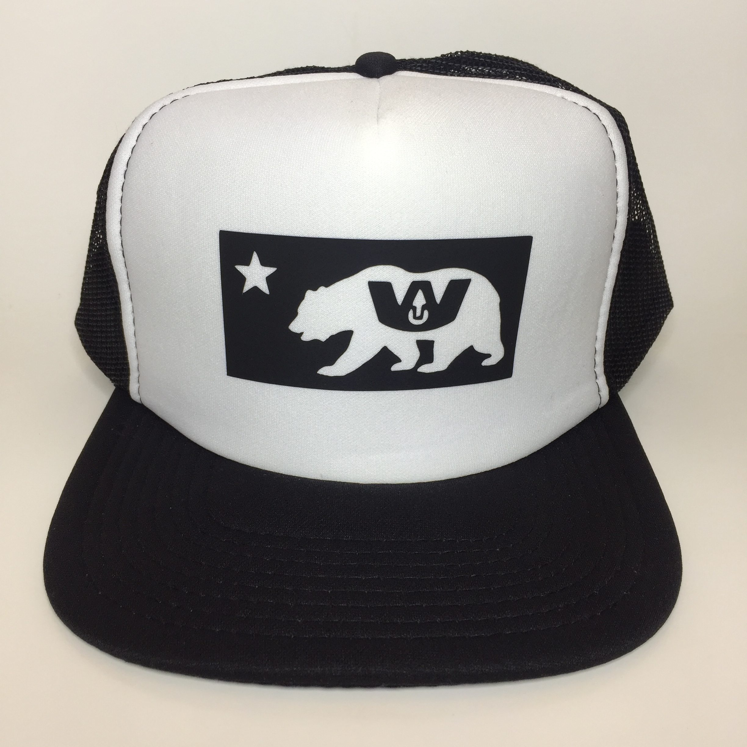 Wax Union W Cali Bear Trucker Hat Black and White Front View