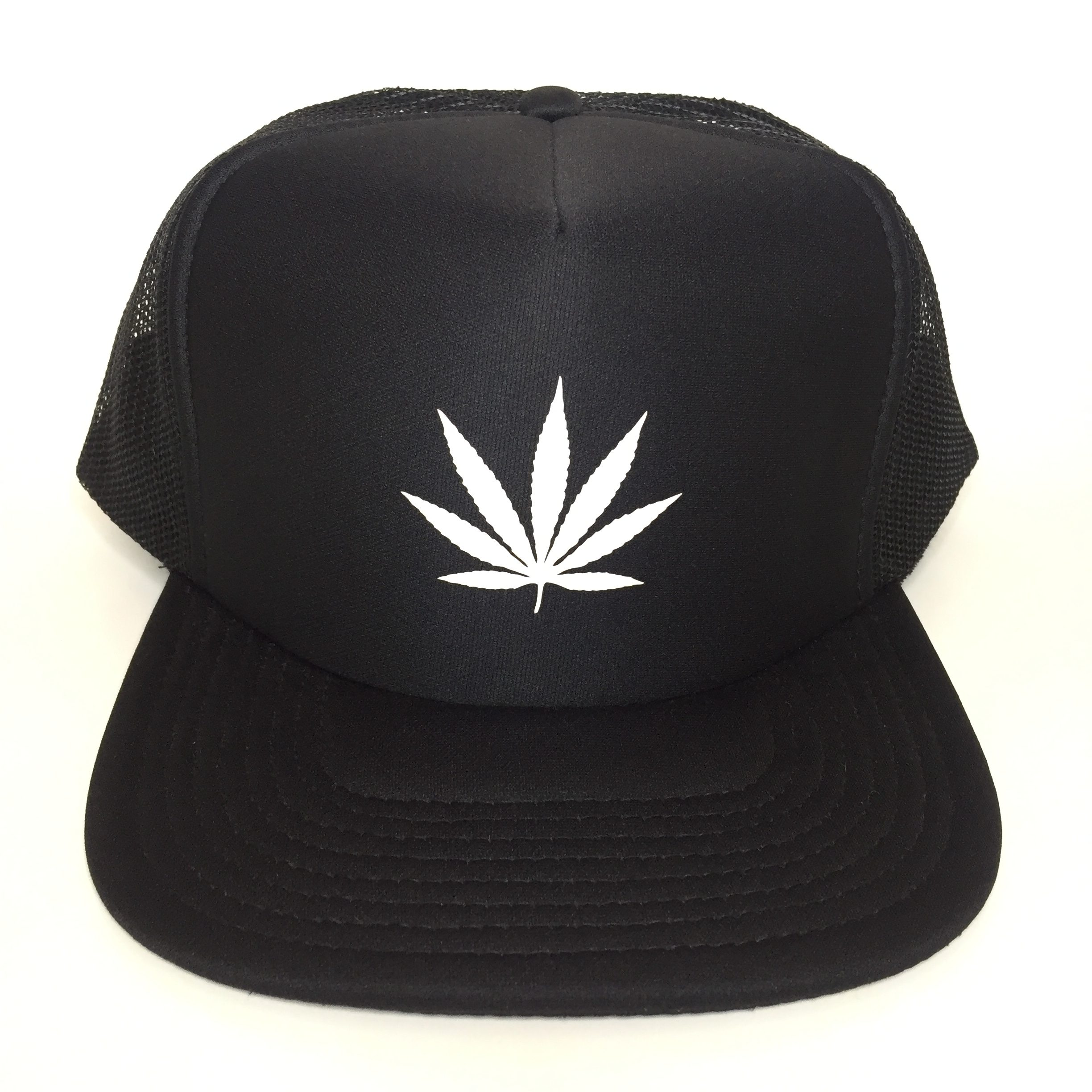 Weed Leaf Trucker Hat White on Black Front View