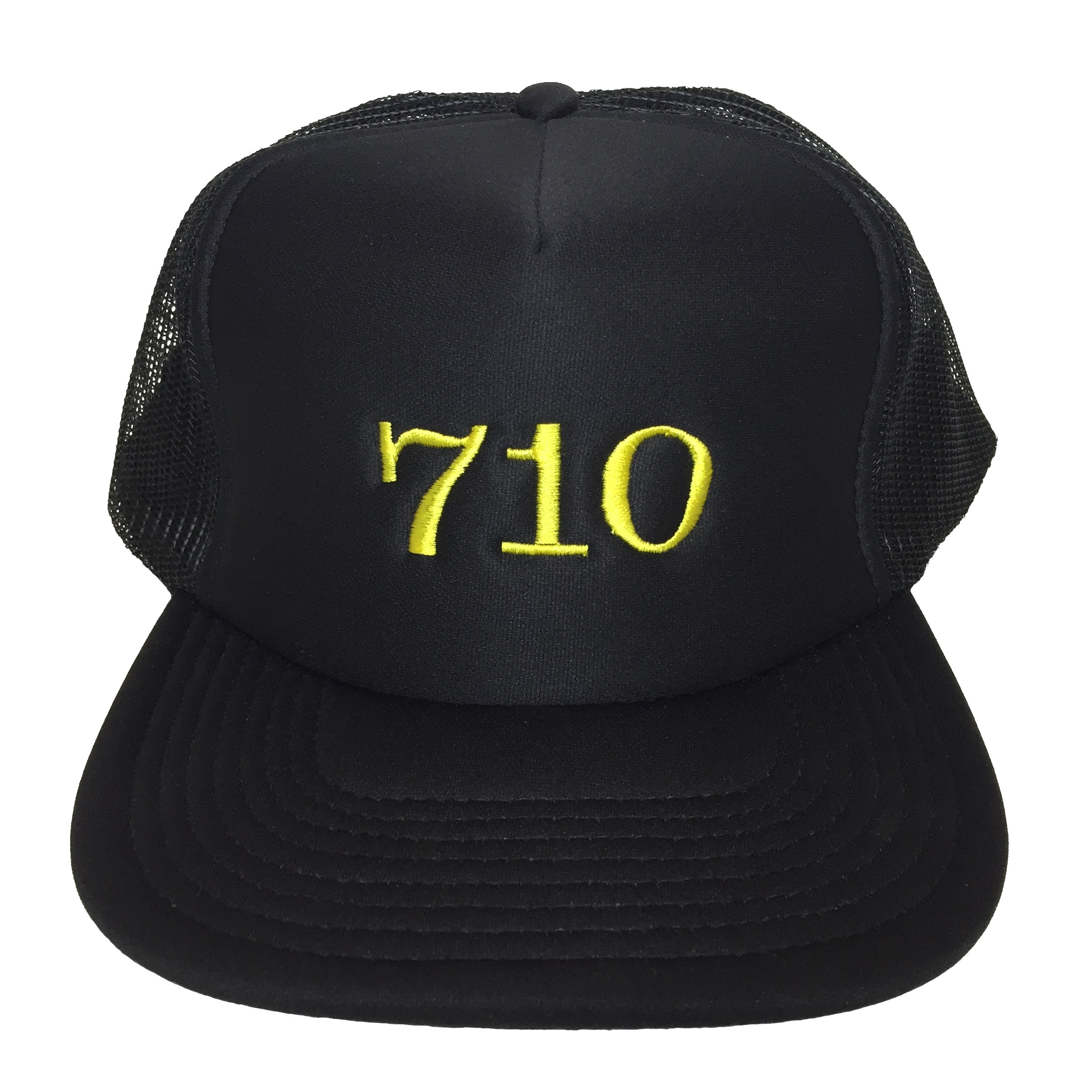710 Trucker hat Yellow on Black Front View